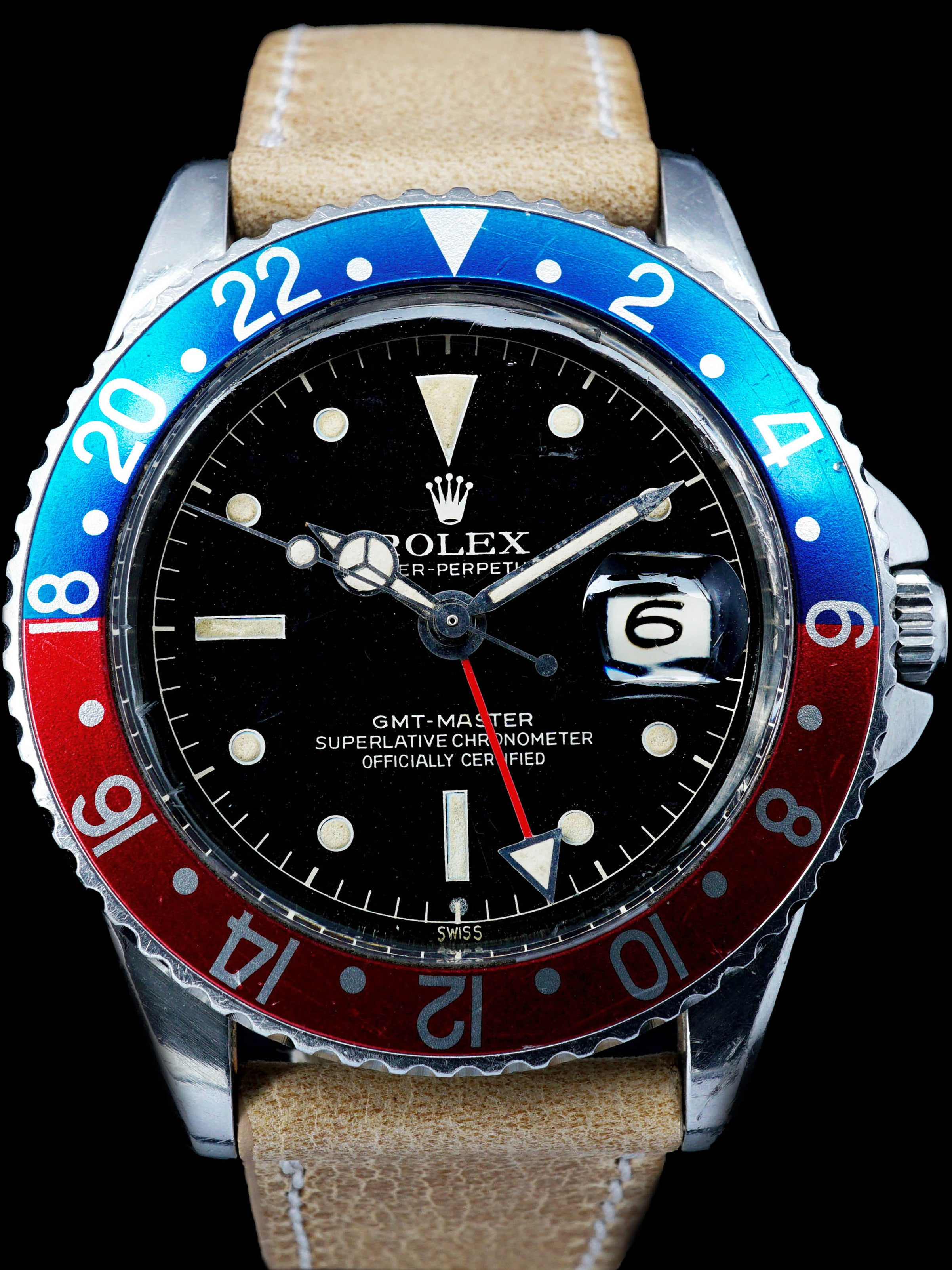 1960 Rolex GMT-Master 1675 with Pointed Crown Guard Case, Gilt Exclamation Dial