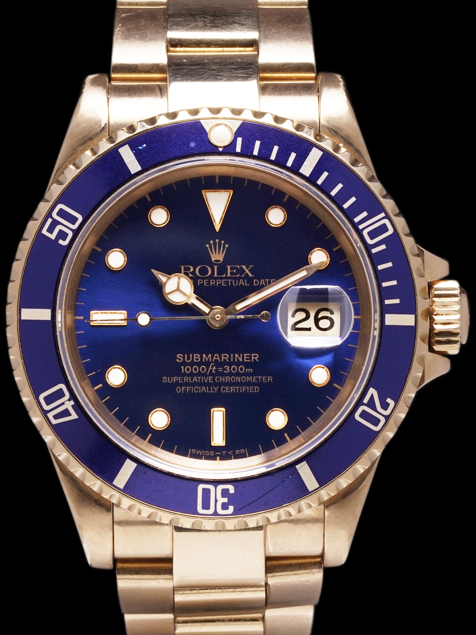 1991 Rolex Blue Submariner (Ref. 16618) 18K YG W/ Box & Papers