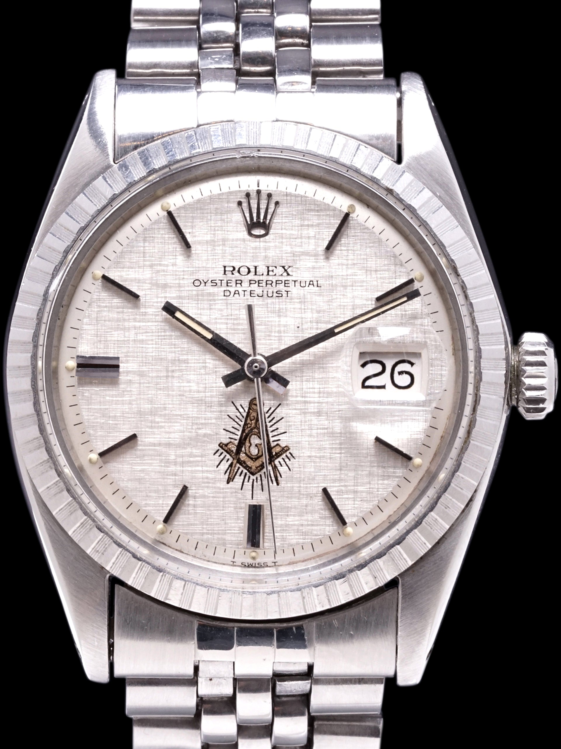 "1971 Rolex Datejust (Ref. 1603) ""Masonic Linen Dial"" W/ Boxes & Double Punched Papers"