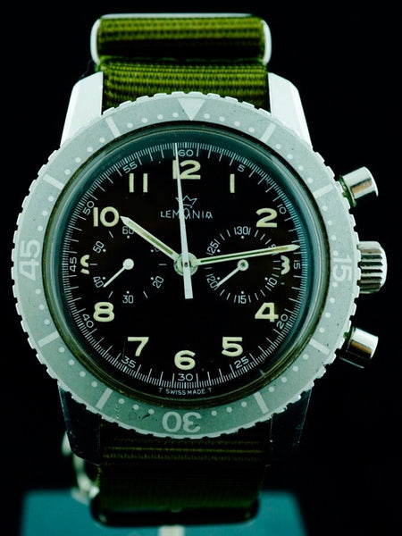 1973 LEMANIA Cal. 1872  Military Pilots Chronograph (South African Air Force)