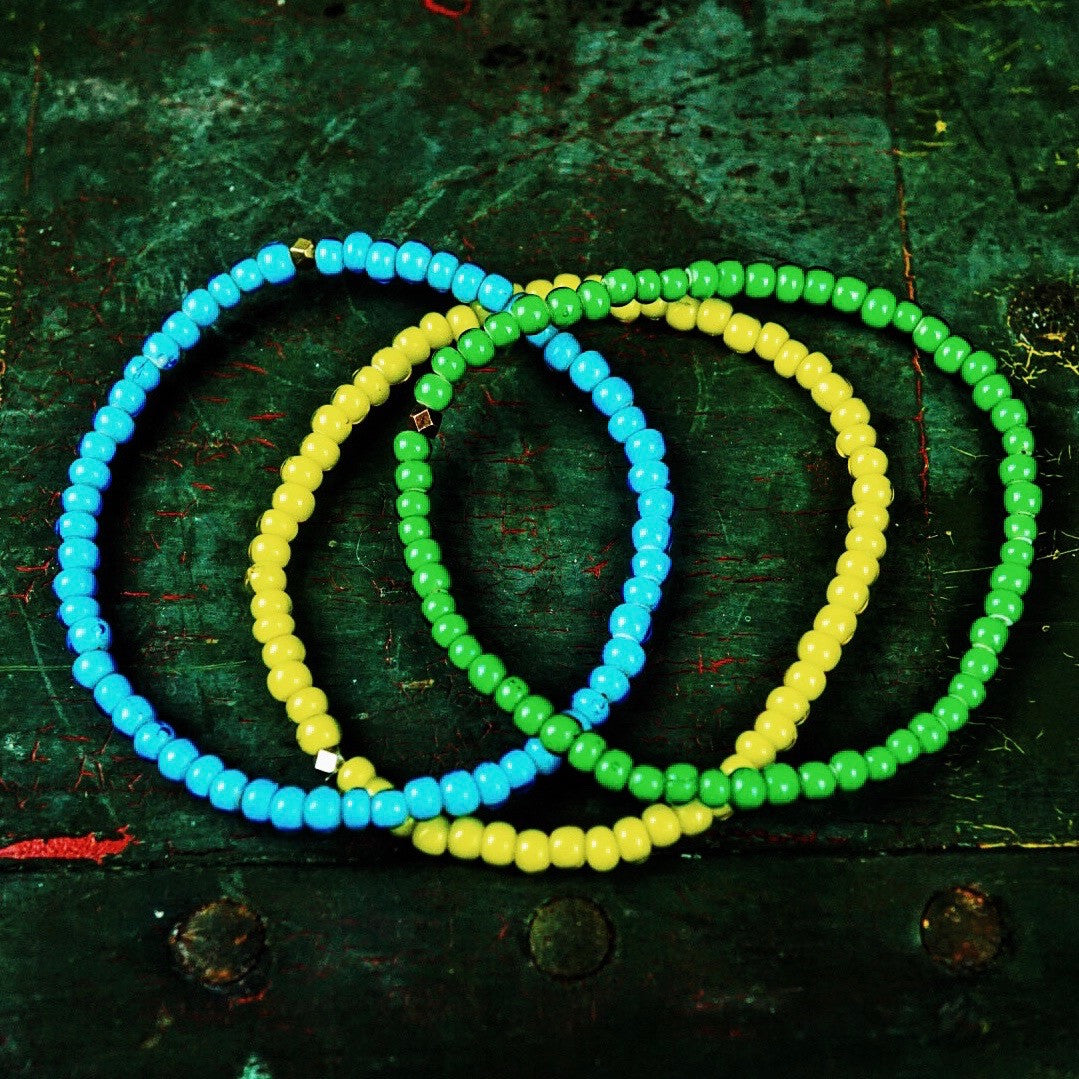 "Craft & Tailored  ""Mojo Beads"" Stretch Bracelet (Blue, Green, Yellow)"