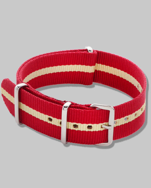NATO Watch Strap (Red, Khaki Stripe)