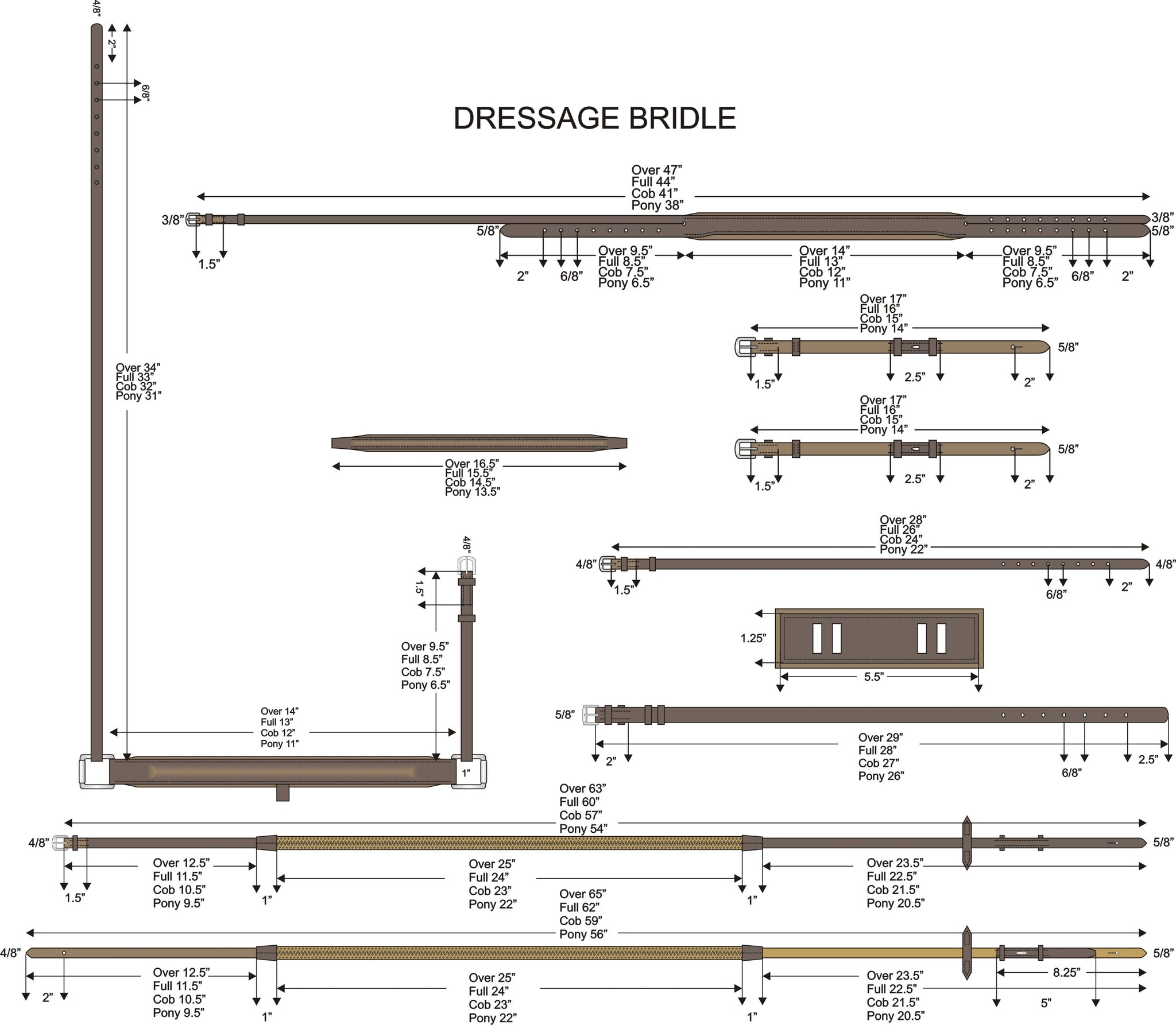 Size Chart For Dressage  Bridle.