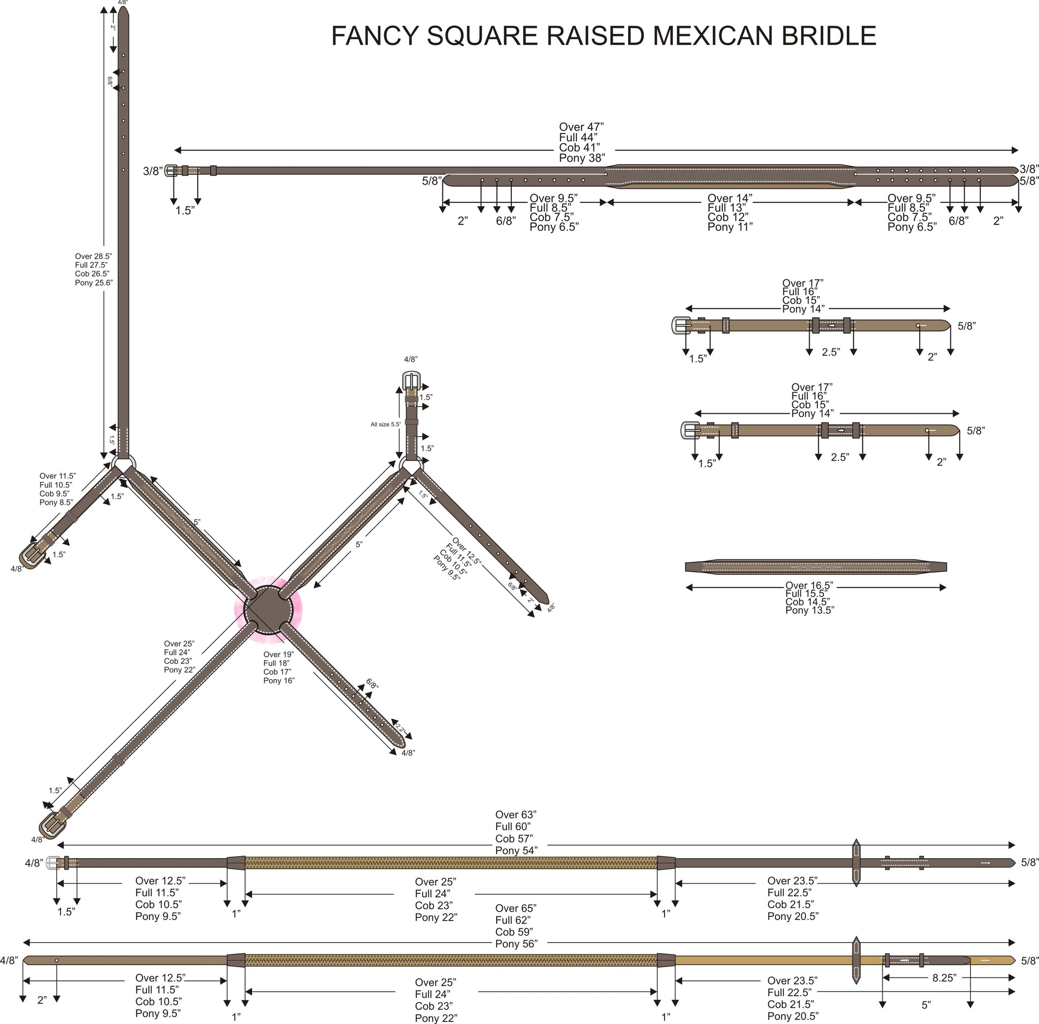Size Chart For Mexican Bridles.