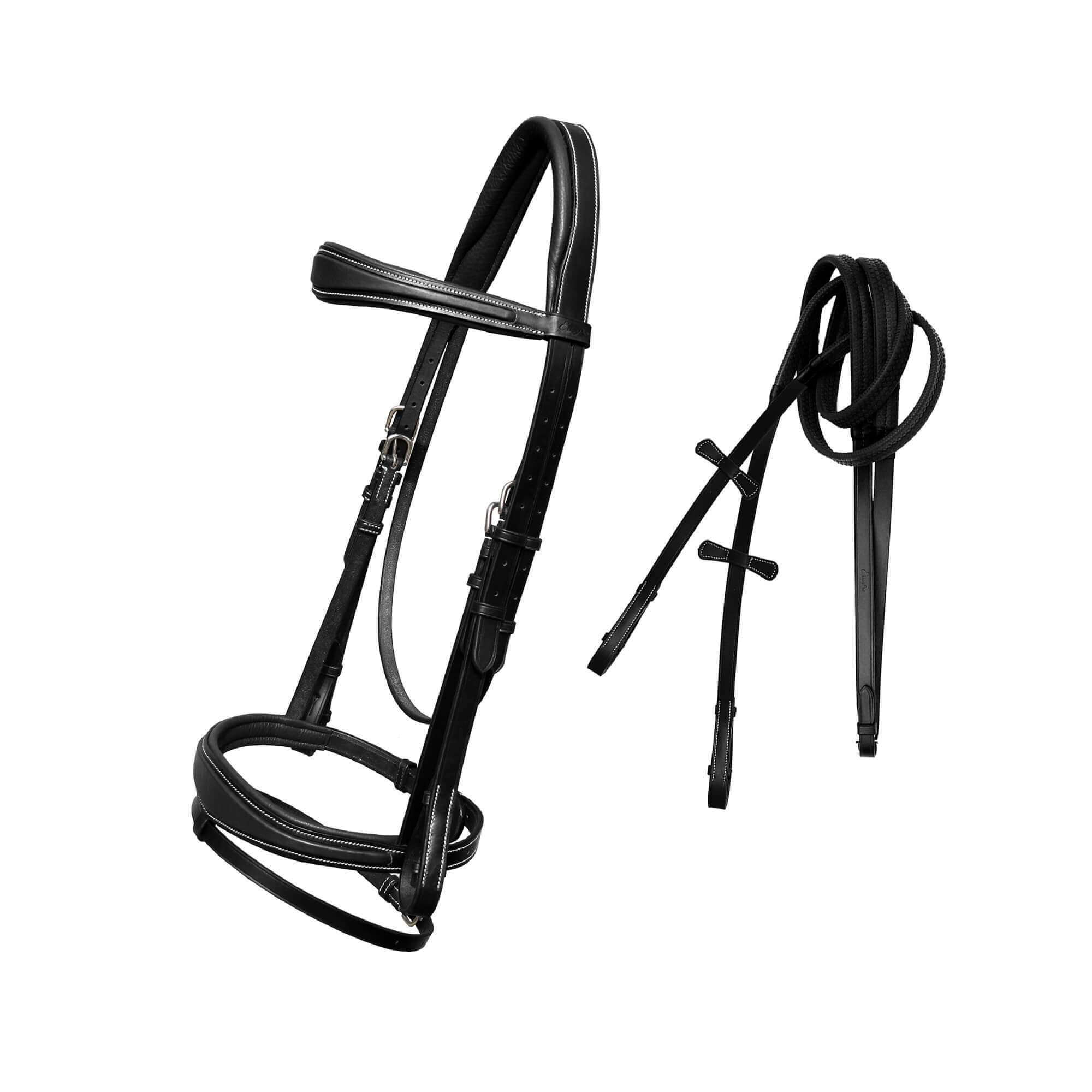 ExionPro Raised Anatomic Bridle with Rubber Reins - Bridles & Reins