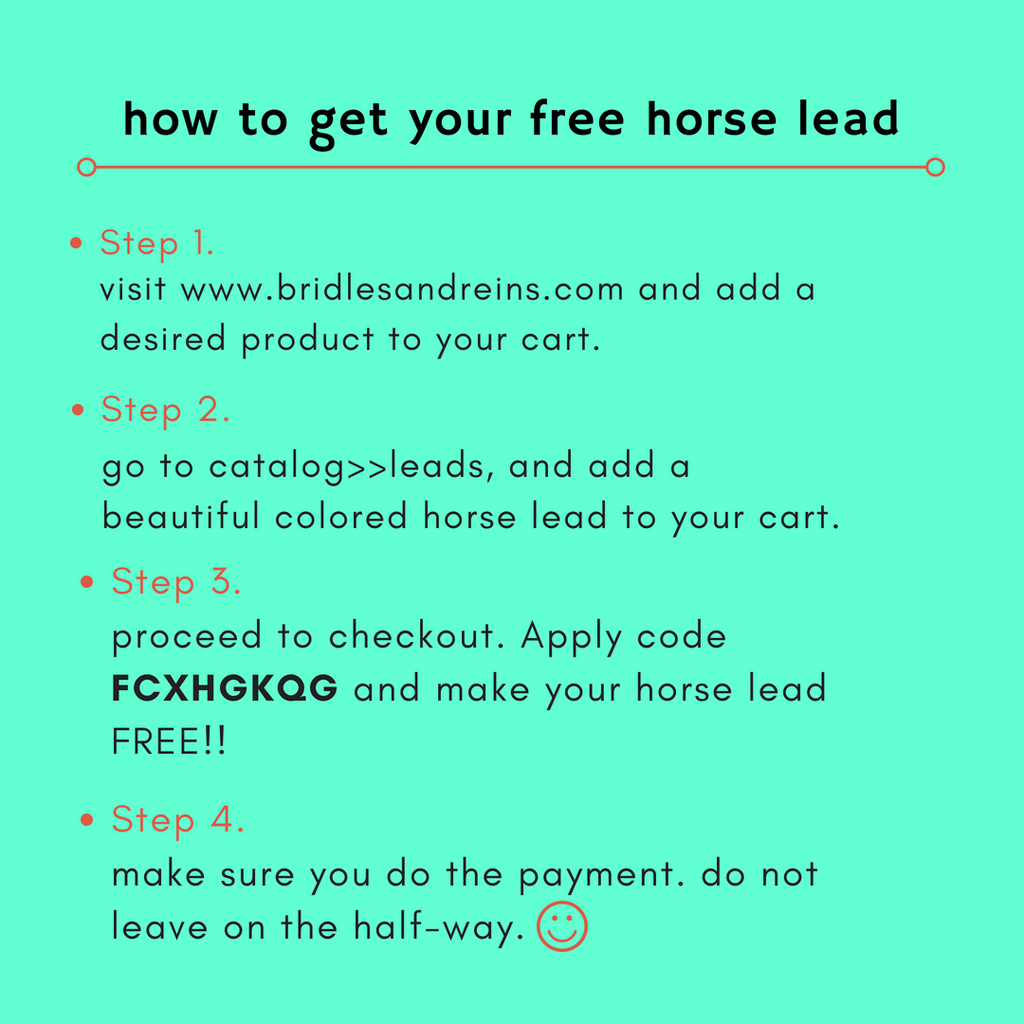 get Free horse Lead on purchase of Royal Leather tack.