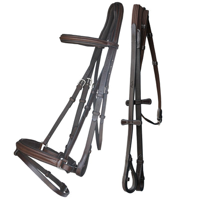 ExionPro Pressure Relief Crown Dressage Bridle with Leather Rein & Hand Stoppers-Bridles & Reins