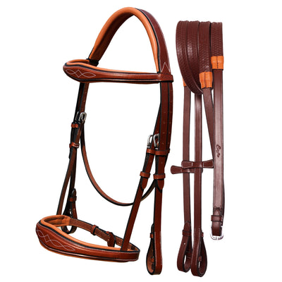 ExionPro Fancy Stitched Raised Anatomical Bridle without Flash with Reins-Bridles & Reins