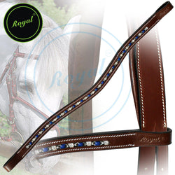Royal Designer Interlinked Blue White U-Shaped Crystal Brow Band. - Bridles & Reins. - 1