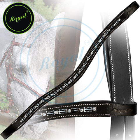 Royal Designer Interlinked Metal U-Shaped Crystal Brow Band. - Bridles & Reins. - 1