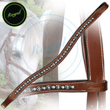 Royal Designer Metal Interlinked White Crystal Brow Band. - Bridles & Reins. - 2
