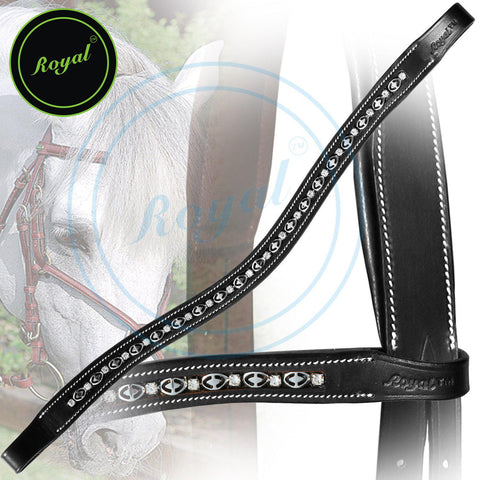 Royal Designer Metal Interlinked White Crystal Brow Band. - Bridles & Reins. - 1