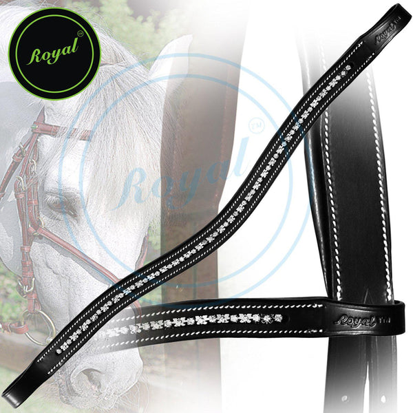 Royal Designer Metal Studded Interlinked White U-Shaped Crystal Brow Band. - Bridles & Reins. - 1