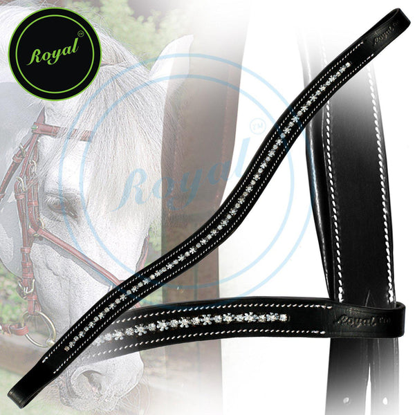 Royal Designer Metallic Studded Interlinked White U-Shaped Crystal Brow Band. - Bridles & Reins. - 1