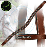 Royal Designer Metallic Running Horse U-Shaped Brow Band. - Bridles & Reins. - 2