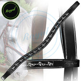 Royal Designer Metallic Running Horse U-Shaped Brow Band. - Bridles & Reins. - 1