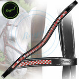 Royal Designer Necklace Pattern Red White U-Shaped Crystal Brow Band. - Bridles & Reins. - 1