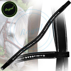 Royal Designer Sleek Metallic Tiny White U-Shaped Crystal Brow Band. - Bridles & Reins. - 1