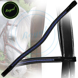 Royal Designer Blue Strap Diamond U-Shaped Crystal Brow Band. - Bridles & Reins. - 1