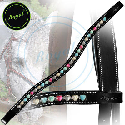 ExionPro Designer Tiny Multi Coloured Heart Crystal Browband-Bridles & Reins