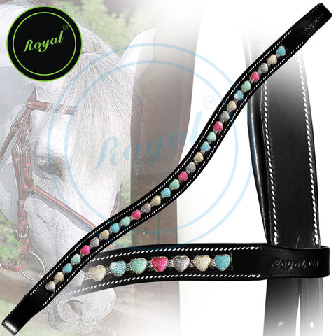 Royal Designer Tiny Multi Coloured Heart U-Shaped Crystal Brow Band. - Bridles & Reins. - 1