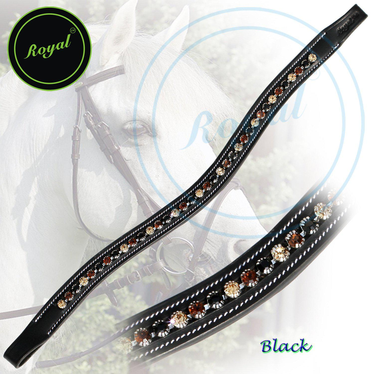 ExionPro Dual Colored Glittering Brown, Black and Golden Crystal Browband-Bridles & Reins