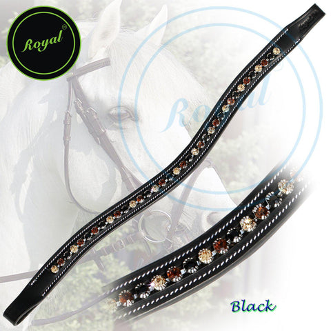 Royal Large Dual Colored Glittering Brown, Black and Golden U-Shaped Crystal Brow Band. - Bridles & Reins. - 1