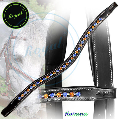 ExionPro Large Elegant & Attractive Blue, Orange Crystal Browband-Bridles & Reins