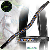 Royal Large Elegant & Attractive Blue, Orange U-Shaped Crystal Brow Band. - Bridles & Reins. - 1