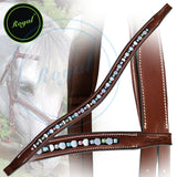 Royal Small Magnificent Multi Crystal and Round Metallic U Shaped Brow Band. - Bridles & Reins. - 2