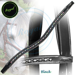 Royal Small Magnificent Multi Crystal in Metallic Heart U-Shaped Brow Band. - Bridles & Reins. - 1
