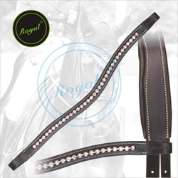 Royal Designer Pink linked U-Shaped Crystal Brow Band. - Bridles & Reins.