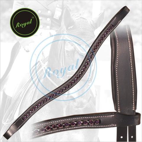 Royal Designer Transparent Maroon linked U-Shaped Crystal Brow Band. - Bridles & Reins.