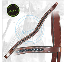 Royal Designer Perfect Black linked U-Shaped Crystal Brow Band. - Bridles & Reins.