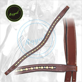 Royal Designer Alternate Golden Metallic & Multi Coloured linked U-Shaped Crystal Brow Band. - Bridles & Reins. - 2
