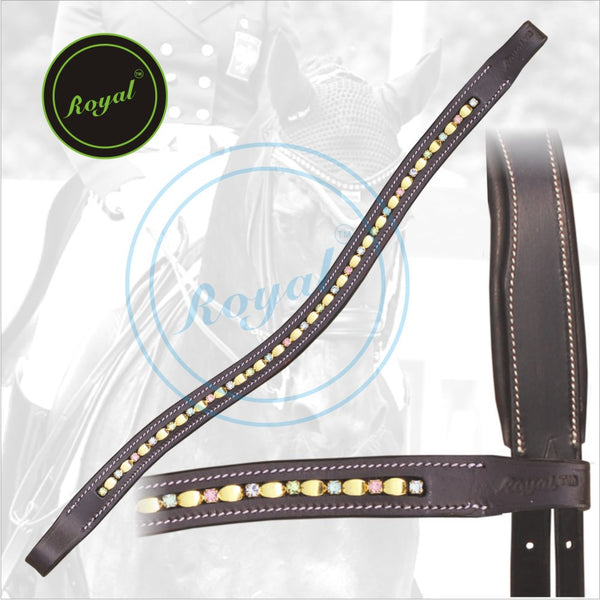 Royal Designer Alternate Golden Metallic & Multi Coloured linked U-Shaped Crystal Brow Band. - Bridles & Reins. - 1