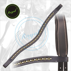 Royal Designer Alternate Metallic & Clear Crystal linked U-Shaped Brow Band. - Bridles & Reins. - 1
