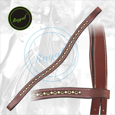 Royal Designer Alternate Metallic & Clear Crystal linked U-Shaped Brow Band. - Bridles & Reins. - 2