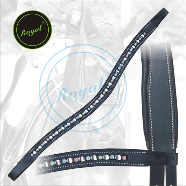 Royal Designer Alternate Silver Metallic With Multi Coloured Crystal linked U-Shaped Brow Band. - Bridles & Reins. - 1