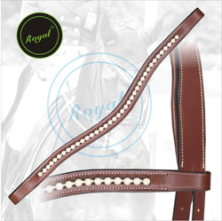 Royal Designer Transparent White linked U-Shaped Crystal Brow Band. - Bridles & Reins. - 1