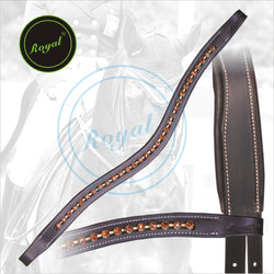 Royal Designer Brown linked U-Shaped Crystal Brow Band. - Bridles & Reins.