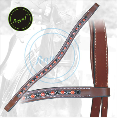 ExionPro Designer Transparent Red, Black Alternate linked Crystal Browband-Bridles & Reins