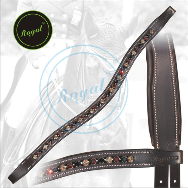 Royal Designer Brown, Dark Brown & Black linked U-Shaped Crystal Brow Band.