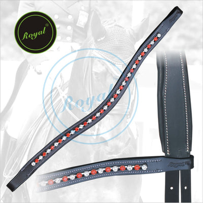 ExionPro Designer Transparent White & Red linked Crystal Browband-Bridles & Reins