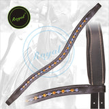 Royal Designer Dark Brown & Light Blue linked  U Shaped Crystal Brow Band.