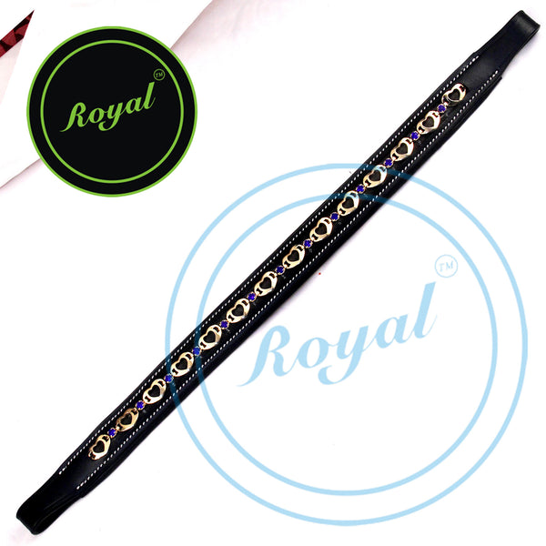 Royal Designer Alternate Large Metallic Heart Tiny Blue Crystal Padded Brow Band.
