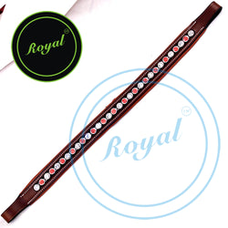 Royal Designer Round Red & White Crystal Padded Brow Band.