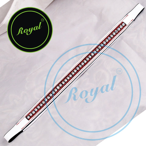 Royal Designer White Crystal Patterned Leather Padded Brow Band.