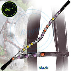 Royal Heart Shape Gem Designer Brown, Purple, Yellow Crystal U-Shaped Brow Band.
