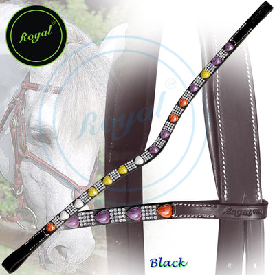 Bling Browband for Horses-Royal Heart Shape Gem Designer Brown, Purple, Yellow Crystal U-Shaped Browband-Bridles and Reins